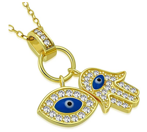Gold Hamsa Hand Jewish Jewelry Muslim Kabbalah Merkaba Blue Evil Eye Lucky Charm Fatima Necklace Allah Diamond 18in.