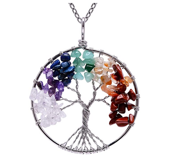 Rainbow Tree of Life Necklace Crystal Charm Gold Kabbalah Reiki Healing Jewelry Jewish Merkaba Yoga Meditation Jewelry Buddhist Silver Tree of Life Chain