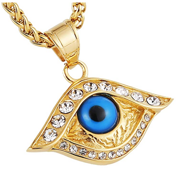 Blue Evil Eye Gold Diamond Jewelry Islamic Gold Hamsa Hand Fatima Muslim Gift Lucky Jewelry Islamic Jewish Jewelry Kabbalah Yoga 24in.