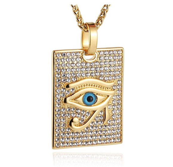 2.5 tcw Diamond Eye of Ra Horus Egypt Gold Gift Evil Eye Diamond African Jewelry Eye of Ra Horus Square Pendant Gold Box Medallion