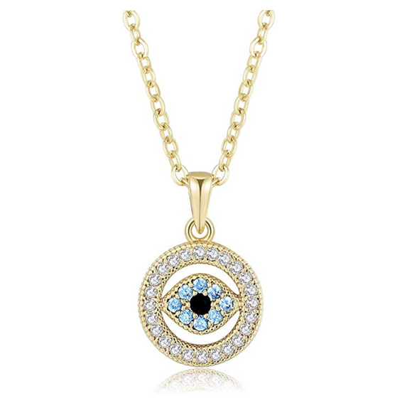 Gold Blue Evil Eye Diamond Jewish Necklace Yoga Jewelry Islamic Muslim Gift Chain 18in.