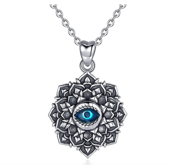 Blue Evil Eye Jewelry Charm Islamic Vintage Lucky Necklace Muslim Jewelry Jewish Yoga Chain Lotus Flower 18in.