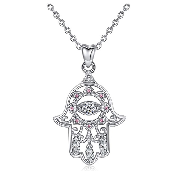 Silver Evil Eye Diamond Jewelry Charm Islamic Rose Gold Hamsa Hand Vintage Lucky Fatima Necklace Muslim Jewish Jewelry Yoga Merkaba 18in.