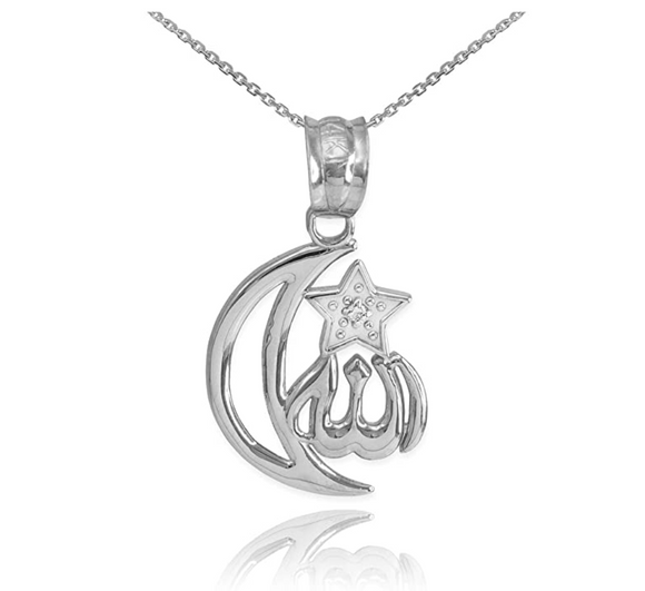 Silver Crescent Moon Necklace Star Islamic Jewelry Muslim Gift Allah Turkish Chain Star Pendant Arabic 20in.