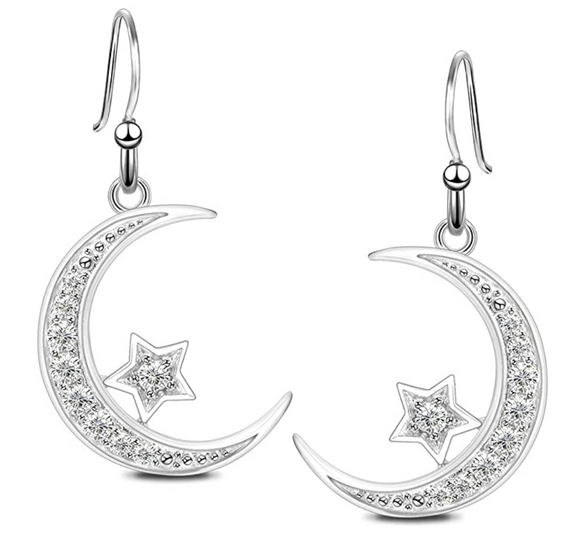 Silver Diamond Crescent Moon Star Earrings Islamic Jewelry Muslim Turkish Gift Allah Ear Rings Arabic