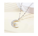 Silver Crescent Moon Diamond Arabic Jewelry Turkish Islamic Necklace Star Muslim Jewelry Gift Allah 18in.
