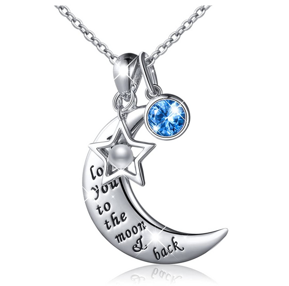 Crescent Moon Necklace Turkish Diamond Star Silver Islamic Muslim Jewelry Chain Gift I Love You Blue Sapphire Crystal 18in.