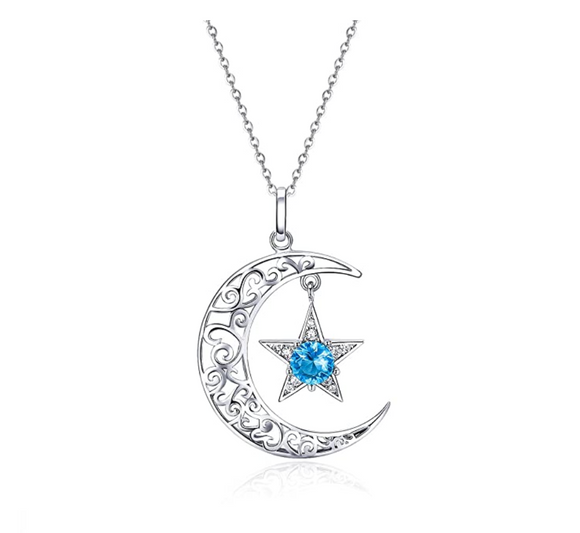 Blue Sapphire Crystal Star Silver Crescent Moon Necklace Turkish Islamic Muslim Jewelry Arabic Pendant Chain Allah 18in.