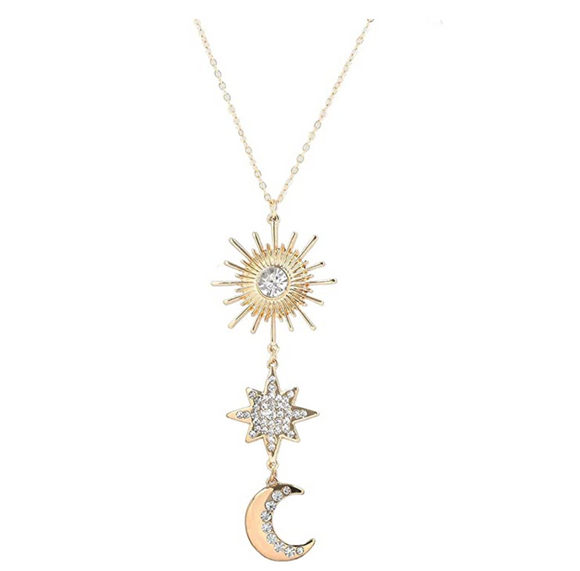 Gold Star Crescent Moon Necklace Diamond Turkish Islamic Silver Muslim Jewelry Arabic Solar Sun Silver Chain 28in.