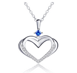 1.5 tcw Silver Blue Sapphire Crystal Heart Jewelry Charm Pendant Love Necklace Diamond Gift 18in.