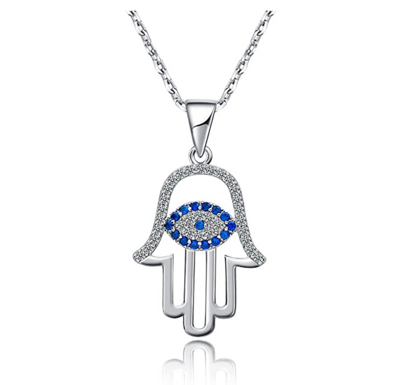 Silver Blue Evil Eye Protection Charm Islamic Fatima Necklace Hamsa Hand Muslim Lucky Rose Gold Jewish Jewelry Yoga 18in.