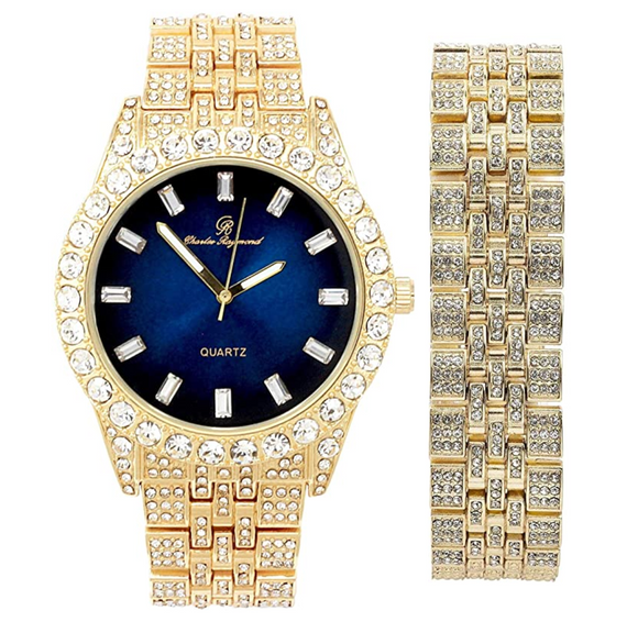 Silver Color Watch Cuban Bracelet Simulated Diamond Blue Dial Watch Set Bust Down Gold Watch Red Face Hip Hop Jewelry Bundle