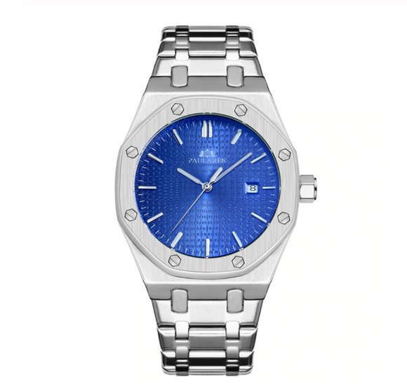 45mm Silver Blue Dial Watch Luxury Business Shinny Silver Dress Watch Skeleton Black Face Octagonal Watch Gold Stainless Steel
