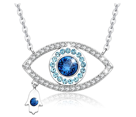 1/10 tcw. Lucky Silver Fatima Necklace Blue Evil Eye Diamond Jewelry Charm Islamic Hamsa Hand Muslim Jewish Jewelry Yoga Chain 20in.