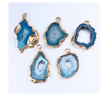 Natural Geode Irregular Slice Blue Agate Stone Druzy Quartz Necklace Gold Color Metal Alloy 20in.