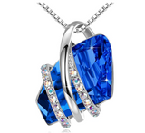 1/4 ct. Simulated Diamond Pink Tourmaline Mothers Day Necklace Ruby Red Simulated Emerald Green Anniversary Gift Wish Stone Gemstone Gold Ribbon Pendant Crystals Simulated Sapphire Blue Chain 20in.