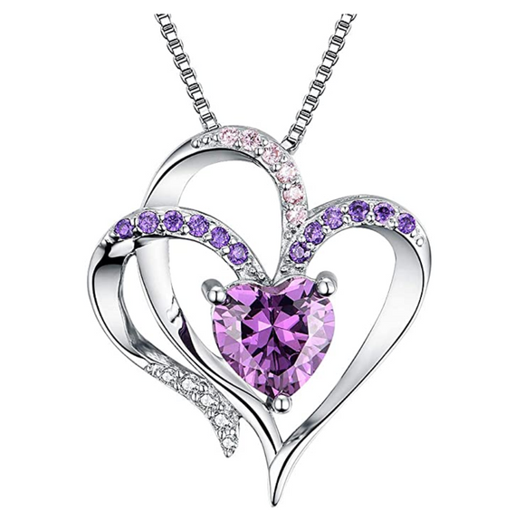 1/4 ct. Simulated Diamond Purple Heart Necklace Love Crystal Charm Valentines Anniversary Birthday Gift Mother Day Chain 20in.