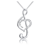 Rose Gold Heart Treble Clef Note Necklace Diamond Music Note Charm Silver Musician Jewelry Singer Gift 18in.