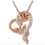 1/4 ct. Simulated Diamond Flower Pendant Rose Silver Necklace Heart Charm Jewelry Singer Gift Mother's Day 925 Silver Chain 18in.