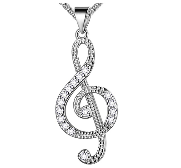 1/4 ct. Simulated Diamond Treble Clef Note Necklace Music Note Charm Musician Jewelry Singer Gift 20in.