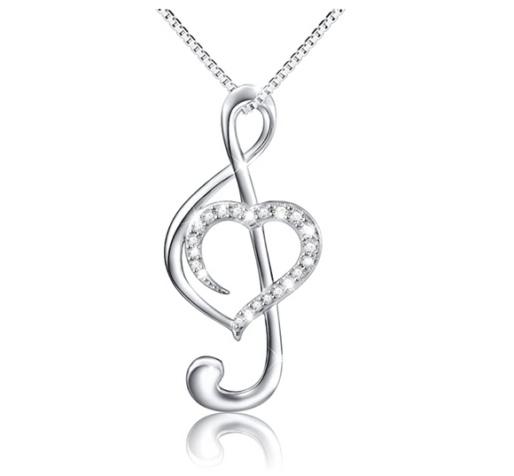 1/4 ct. Simulated Diamond Heart Treble Clef Note Necklace Music Note Charm Musician Jewelry Singer Gift 925 Sterling Silver 20in.