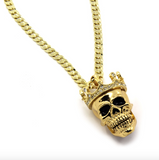 King Head Skull Pendant Necklace Gold Color Metal Alloy Simulated Diamond Crown Skull Necklace Hip Hop Cuban Link Chain Iced Out 24in.