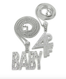 Lil Baby Chain Set 4PF Pendant Necklace Lil Baby Necklace Silver Hip Hop Cuban Link Chain Iced Out Gold Color Metal Alloy Simulated Diamond 24in.