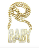 DaBaby Chain 4PF Pendant Necklace Gold Diamond Lil Baby Necklace Silver Hip Hop Cuban Link Chain Iced Out 24in.