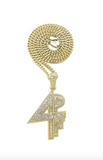Lil Baby Chain 4PF Pendant Necklace Gold Diamond Lil Baby Necklace 4PF Silver Hip Hop Cuban Link Chain Iced Out 18in.