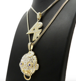 4PF Lil Baby Chain Set 4PF Pendant Necklace Gold Diamond Lil Baby Necklace Silver Hip Hop Cuban Link Chain Iced Out 24in.