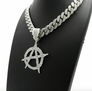 Anarchy Pendant Necklace Diamond A Necklace Silver Hip Hop Cuban Link Chain Iced Out 20in.