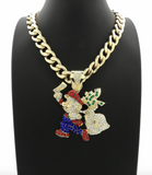 Super Mario Pendant Mario Necklace Simulated Diamond Money Bag Necklace Hip Hop Cuban Link Chain Iced Out 20in.