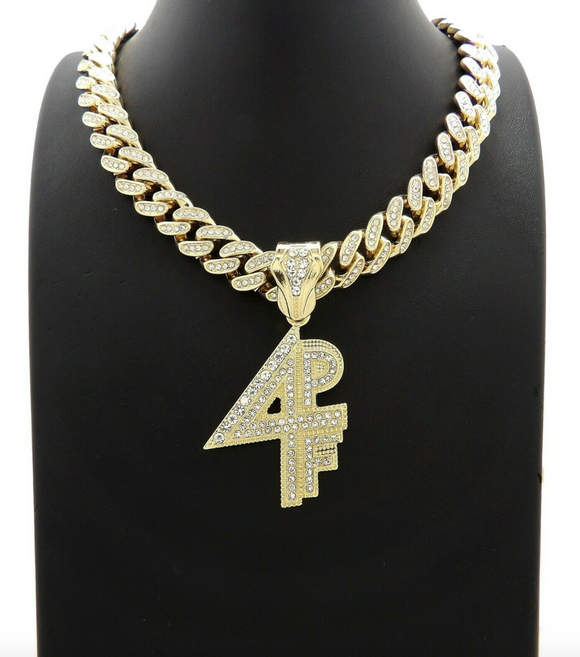 Lil Baby 4PF Pendant Necklace Cartoon Necklace Hip Hop Chain Iced Out Cuban Link Gold Color Metal Alloy Simulated Diamond 20in.