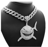 Gooba Shark Pendant 6ix9ine Necklace 69 YAYA Hip Hop Simulated Diamond Baby Shark Chain Cuban Link Iced Out Silver Gold Color Metal Alloy 20in.