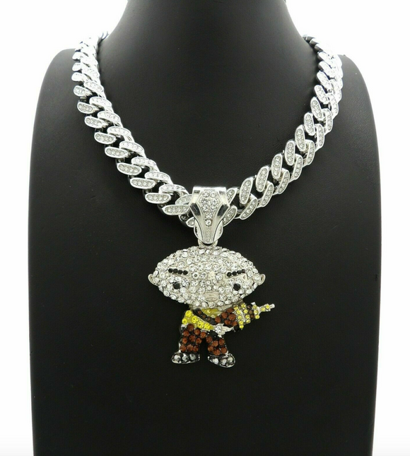 DaBaby Necklace Stewie Simulated Diamond Cartoon Necklace Hip Hop Family Guy Chain Iced Out Cuban Link 18in.