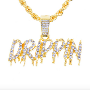 Iced Drippin Pendant Drip Necklace Gold Color Metal Alloy Simulated Diamond Necklace Hip Hop Twist Rope Chain Iced Out 24in.