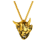 Black Evil Demon Horn Skull Pendant Satan Necklace Cartoon Hip Hop Devil Chain Silver Gold Color Metal Alloy 24in.