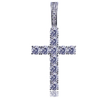 Holy Cross Pendant Simulated Diamond Hip Hop Jesus Necklace Skinny Cross Iced Out Twist Rope Chain 24in.