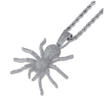 Spider Pendant Diamond Gold Cartoon Hip Hop Black Spider Chain Silver Iced Out Twist Rope Chain Scary Halloween Jewelry 24in.