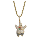 Patrick Pendant Gold Color Metal Alloy Simulated Diamond Necklace Patrick Star Gold Cartoon Silver Hip Hop Spongebob Chain Iced Out 24in.