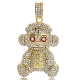 NBA Young Boy Pendant Simulated Diamond 38 Necklace Cartoon Hip Hop 38 Baby Bear Chain Iced Out Gold Silver Color Metal Alloy 24in.