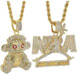 NBA Young Boy Pendant Chain Set Michael Jordan Gold Color Metal Alloy Simulated Diamond Necklace 23 Gold Cartoon Hip Hop 38 Baby Chain Iced Out 24in.