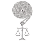 Scales of Justice Pendant Diamond Gold Liberty Hip Hop Libra Necklace Silver Iced Out Libra Scale Chain 24in.