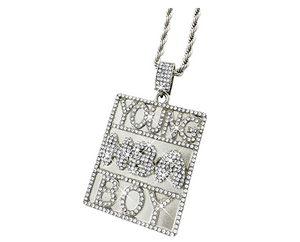 Simulated Diamond Necklace NBA Young Boy Pendant Hip Hop 38 Baby Chain Iced Out Gold Silver Color Metal Alloy 24in.