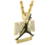 23 Jumpman Diamond NBA Young Boy Pendant Chain Gold Necklace Gold Cartoon Gun Hip Hop Michael Jordan Chain Iced Out 20in.