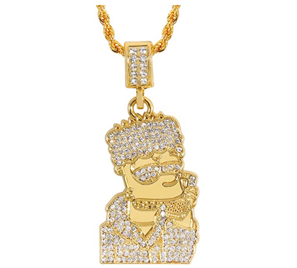 Bart Pendant Gold Color Metal Alloy Simulated Diamond Gucci Man Necklace Cartoon Hip Hop Bart Simpson Chain Iced Out 30in.