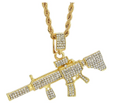 M4 Assault Rifle AR Chain Machine Gun Necklace AK 47 Chopper Pendant Simulated Diamond M14 Gun Cartoon Hip Hop M16 Chain Iced Out Gold Silver Color Metal Alloy 24in.