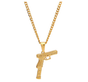 Extended Clip Pendant Pistol Gun Necklace Cartoon 9mm Hip Hop Chopper Chain 45 Gun Iced Out Gold Color Metal Alloy 24in.