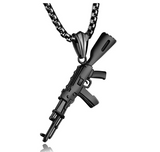 AK 47 Pendant Gold Gun Cartoon Hip Hop Chopper Chain Machine Gun Necklace Silver Draco Iced Out 24in.