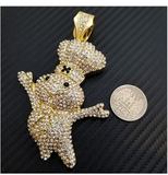 Pillsbury Doughboy Pendant Rapper Pillsbury Necklace Simulated Diamond Doughboy Silver Iced Out 18in.
